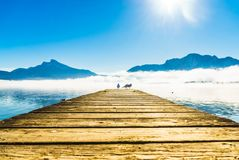 Foggy mountain landscape with seagulls on Pier of lake Mondsee i royalty free stock photography