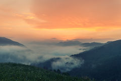 Foggy mountain landscape under morning sky. Royalty Free Stock Photos