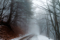 Foggy mountain road Royalty Free Stock Photography