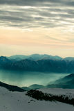 Foggy mountain scenery at sunset Royalty Free Stock Photography