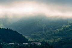 Foggy mountain top somewhere in Easter Europe. Early morning fog on top of a mountain somewhere in Bicaz lake in Romania, forest and green vegetation royalty free stock photos