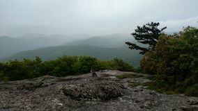 Foggy mountain view on spy rock Royalty Free Stock Image