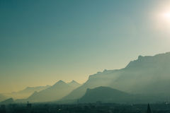 Foggy mountains stock photography