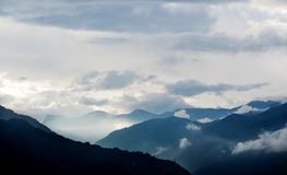 Foggy Mountains with cloud in the morning sunshine in Taiwan Royalty Free Stock Image