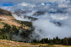 Foggy Mountains. Fog hangs in the valleys of the Colorado Rocky Mountains Stock Image