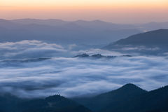 Foggy mountains silhouette Stock Photography