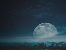 Foggy night with beauty Moon Stock Photo
