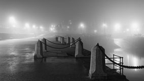Foggy night on Dun Laoghaire Pier. The picture was taken on November 1, 2015 stock photography