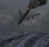 Foggy Night Jet Plane Crashes Into Rough Sea Illustration. A plane crashing into the rough sea after its vertical stabilizer broke off in midair Stock Photo
