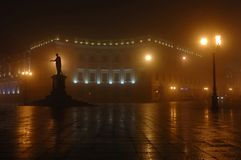 Foggy night in Odessa town,unesco heritage. Foggy night on Primorskii Boulevard with monument dedicated to Duke de Richelieu ,Odessa,Ukraine Old city center royalty free stock images