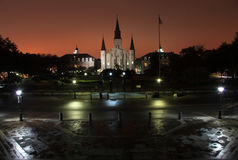 Foggy Night On Jackson Square Stock Photos