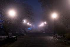 Foggy night park with man's silhouette in the distance. Stock Photos