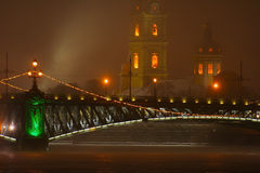 Foggy night, Saint Petersburg Royalty Free Stock Images