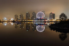 Foggy night time view of False Creek. Vancouver, British Columbia, Canada. Stock Photography