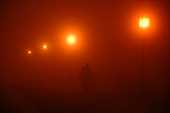 Foggy night in the town Royalty Free Stock Photos