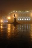 Foggy night in town, Odessa,Ukraine. Foggy night on Primorskii Boulevard with monument dedicated to Duke de Richelieu ,Odessa,Ukraine royalty free stock photos