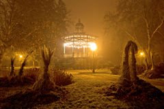 Foggy night view of park pavillion Royalty Free Stock Images