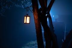 Foggy night yard with bright light on background. lantern hanging on the tree stock image