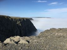 Foggy Nordkapp. Fog is coming to Nordkapp and providing an amazing view royalty free stock image