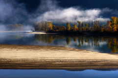 Foggy North Thompson river, British Columbia Stock Photo