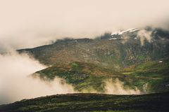 Foggy Norwegian Mountains. Foggy Norwegian Mountain Landscape During Summer. Norway, Europe Stock Photos