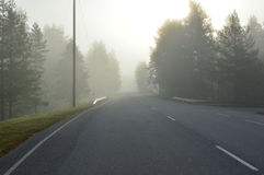 Foggy open road Royalty Free Stock Photography