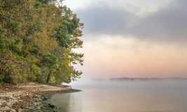 Foggy over a river or lake royalty free stock photos