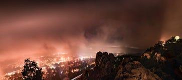 Foggy cityscape of Tatabánya, Hungary, Europe stock photos
