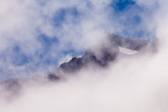 Foggy peaks of Aoraki Mount Cook NP in New Zealand Royalty Free Stock Photos