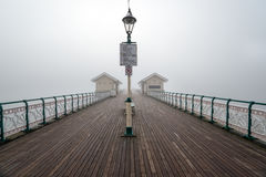 Foggy Penarth Pier. A foggy morning on the pier at Penarth near Cardiff in south Wales royalty free stock photo