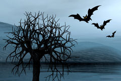 Foggy picture with bats vector illustration