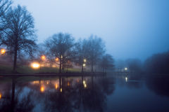 Foggy Pond Stock Photos