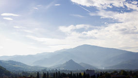 Foggy Pyrenees mountains Stock Photography
