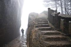 Foggy Rainny day. Stone Steep Steps . Treking walking hking Huan Stock Images