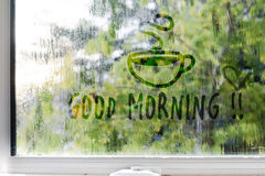 Foggy,rainy,raindrops on the window background Stock Photos
