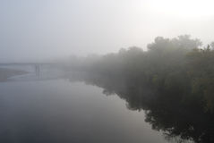 Foggy River. Chippewa River valley in Eau Claire Wisconsin stock images