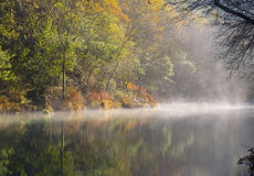 Foggy river. Located in Galicia, Spain stock photos
