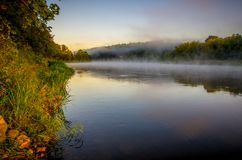 Foggy river at dawn. Scenic landscape near forest stock images