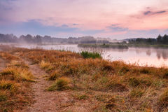 Foggy river in the morning. Misty dawn at summer. Misty morning Royalty Free Stock Photos
