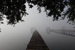 Foggy River Morning. Picture of a foggy morning on the river, taken from the river bank stock images