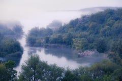Foggy river morning Stock Image