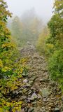 Foggy river. In Oropa royalty free stock photo