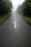 Foggy Road. A road leading through a forest cast in fog Stock Photos