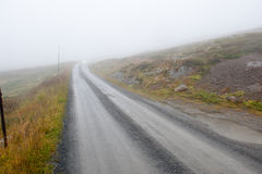Foggy road. A country road through rural nature in foggy weather Stock Photos
