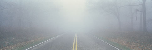 Foggy Road, Blue Ridge Parkway, VA Stock Photography