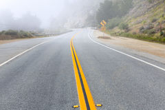 Foggy road in Calfornia Pacific Highway 1 US 101 Stock Images