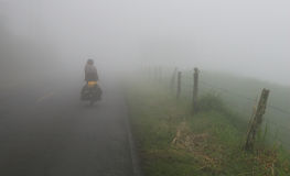 Foggy Road Cyclist Royalty Free Stock Images