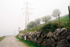 Foggy road. In the mountains in Spain Royalty Free Stock Images