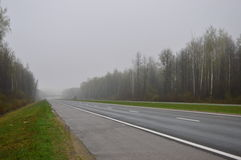 Foggy road. May highway in the spring fog Royalty Free Stock Photography