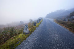 Foggy road in Norway Gamle Strynefjellsvegen Royalty Free Stock Photography